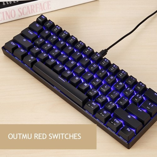 MOTOSPEED CK61 RGB Mechanical Gaming Keyboard OUTMU Red Switches Keyboard 61 Keys Anti-ghosting with Backlight for Gaming Black C8782-1