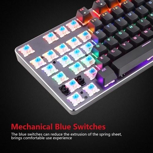 Motospeed K73 Механическая клавиатура со смешанным освещением и настраиваемым световым эффектом RGB 104 клавишная игровая клавиатура Английская клавиатура с синими переключателями для настольного компьютера / ноутбука фото