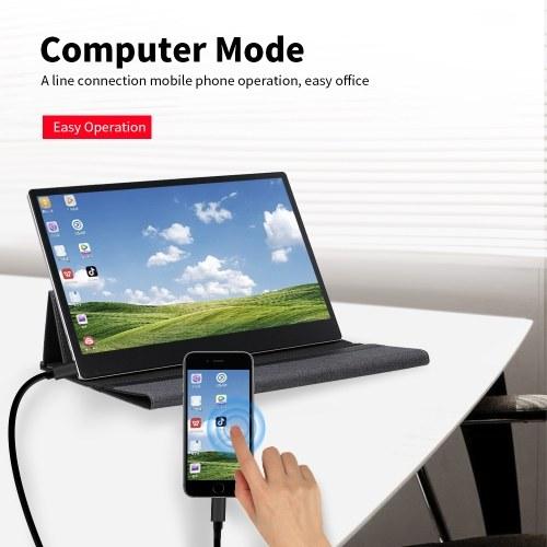 Портативный монитор 15,6-дюймовый светодиодный монитор 4K Ultra Clear IPS Расширение экрана с чехлом для коммутатора / PS4 / XBOX ONE / ПК / ноутбук ЕС Plug фото