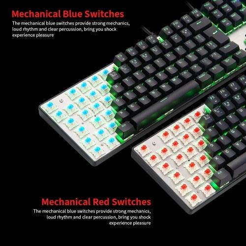 Tastiera di gioco meccanica MOTOSPEED CK104 Tastiera di gioco con retroilluminazione a LED colorata USB cablata con 104 tasti per interruttori blu portoghesi