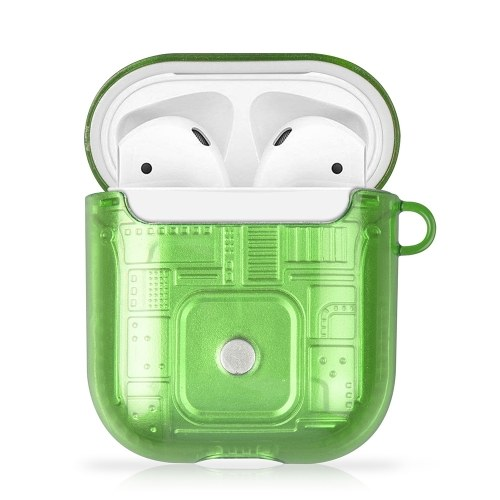 Protective Case for Airpods 1 2-in-1 PC+TPU Suitcase Anti-fall Shockproof Protective Case with free Buckle Green