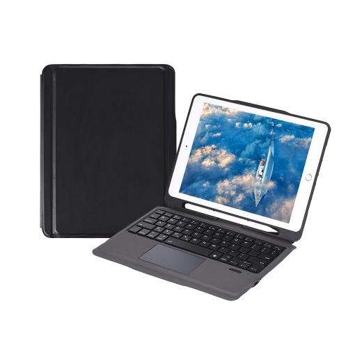 Custodia per iPad con tastiera wireless Touch Pad Supporto per matita Apple per iPad Air2 / iPad Pro 9.7 / iPad 9.7 (2017/2018) (Nero-Nero)