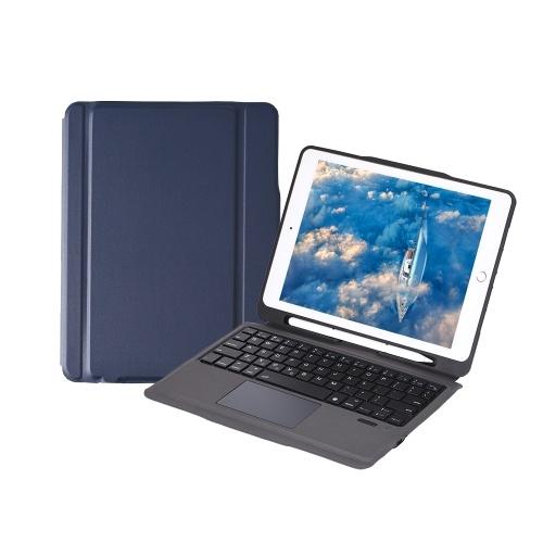 iPad Case with Wireless Keyboard Touch Pad Apple Pencil Holder for iPad Air2/iPad Pro 9.7/iPad 9.7(2017/2018) (Blue-Black)
