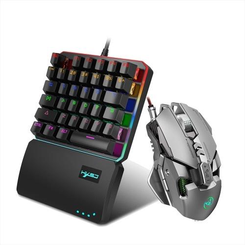 HXSJ V200 + J800 Combo J800 Mouse da gioco cablato Mouse a 7 tasti per programmazione macro e V200 Switch blu Tastiera meccanica a una mano Set DPI regolabile Effetto luce RGB colorato