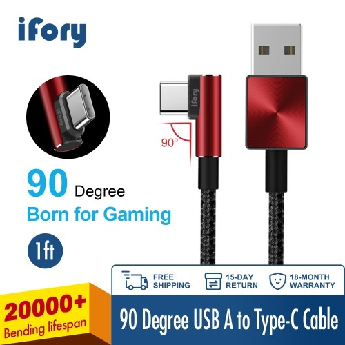 iFory USB C Cable 6ft / 1.8 Meter 90 degree L 3.0 Fast Charging Micro USB A to USB-C Nylon Braided Cord Unbreakable Gaming Charging