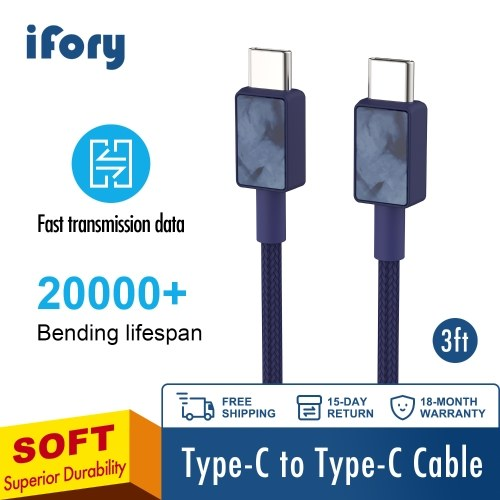 USB C to USB C 5V 3A Fast Charging Cable iFory USB C Cable Type C to Type C Charge Cable Nylon Braided Cord