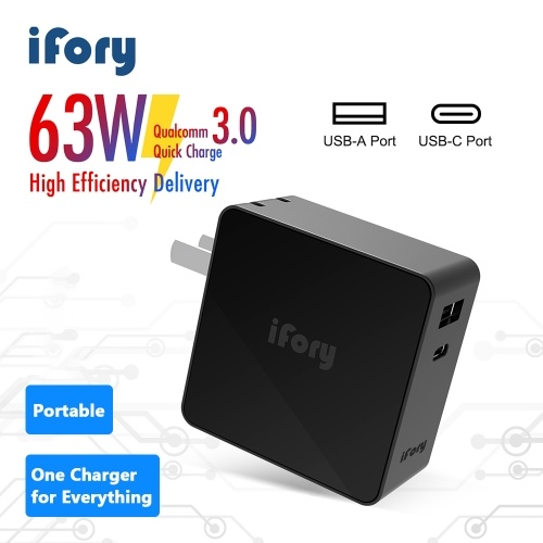 iFory Quick-Charger 3.0 63W PD Wall-Charger With USB C USB A Dual Port for Smartphones iOS Laptops