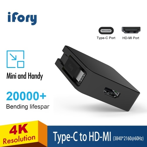 iFory Adapter USB C/MiniDP to HD-MI/VGA-equipped Display Projector Compatible with Computer Phones Portable