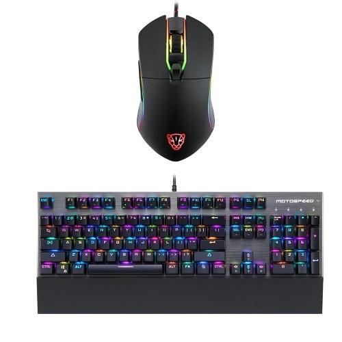Motospeed CK108 104 Ключи Механическая игра Проводная клавиатура + V30 Проводная оптическая USB-мышь для игр фото