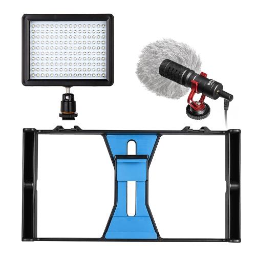 Andoer Handheld Smartphone Video Rig Telefon Stabilizator do montażu na statywie + Ściemniacz LED + Mikrofon