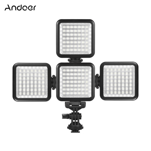 Andoer W49S Mini Dimmable LED Video Light Fill Light + With Rotatable Shoe Mount Adapter