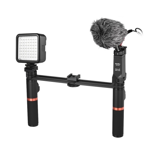 Smartphone Video Rig Dual Handheld Metal Grip with BT Remote Control + Mini Microphone + Dimmable LED Light for iPhone 6s plus for Samsung Galaxy S8+ S8 Note 3 Huawei
