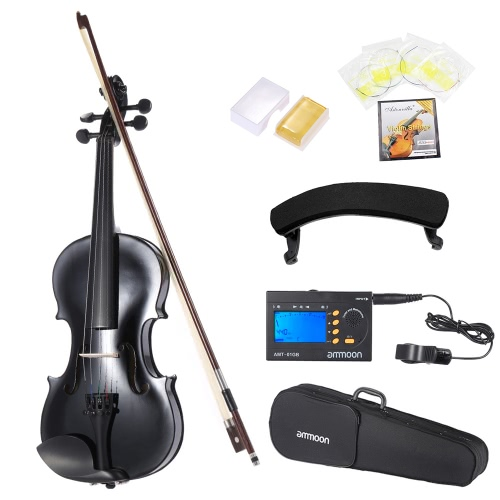 ammooon 1/2 Student Violin Metallic Black Equipped with Steel String w/ Arbor Bow for Beginners Music Lovers + ammoon AMT-01GB Multifunctional 3in1 Digital Tuner + Metronome + Tone Generator Universal Portable for Chromatic Guitar Bass Violin + 4pcs A Set of Violin Strings + Violin Shoulder Rest