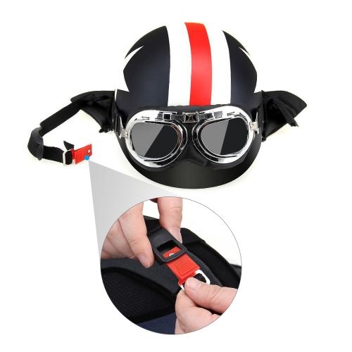 Casque de moto avec lunettes Casque Touring Echarpe Casque pour Harley + Masque Lunettes détachables et Bouche filtre pour casque ouvert
