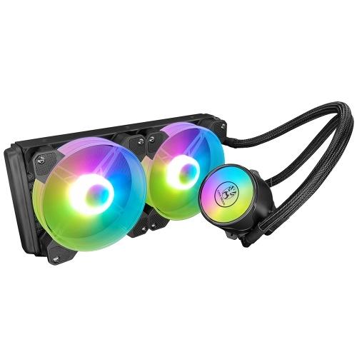 COOL MOON Cold Moon 240 Einteiliger PC-Gehäuse-Wasserkühler mit RGB 120 mm Leise Lüfter CPU-Flüssigkeitskühler für LGA775 / 115X / AM4 / AM3 / FM2