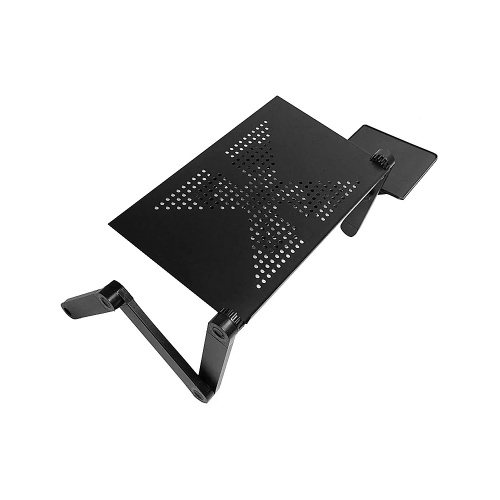 Foldable Laptop Stand Portable Aluminum Alloy Laptop Stand with Heat Dissipation Hole Cooling Fan Mouse Board Black