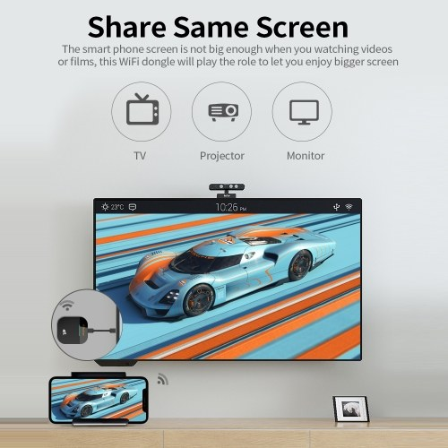 G5 Plus Wireless Display Receiver 2.4GHz&5GHz Dual-frequency Wireless Dongle with 4K Image Quality Plug and Play Black