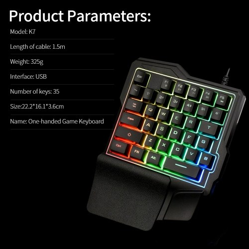 One-handed Game Keyboard Portable & Light USB Cable Connection 35 Keys Layout Non-slip Soft Rubber Pad Radium-carved Key Cap