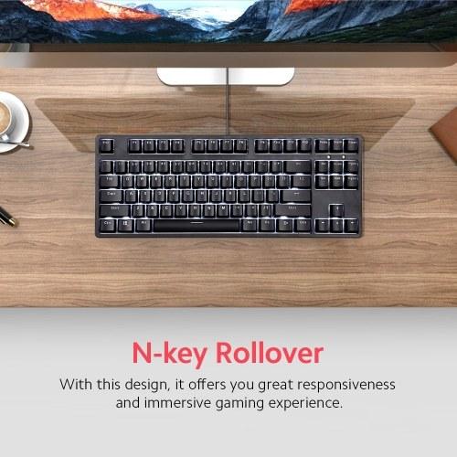 RGB Backlit Mechanical Keyboard N-key Rollover/ Red Switch/ Macro Recording Keys/ Detachable Frame/ Adjustable Height Black