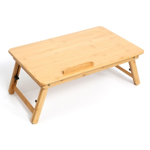Foldable Bamboo Laptop Table 4-gear Adjustable Laptop Desk with Drawer Cup Slot for 13-15.6 inch Laptop