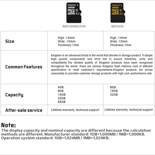 kingston class 10 8gb 16gb 32gb microsdhc tf flash memory card