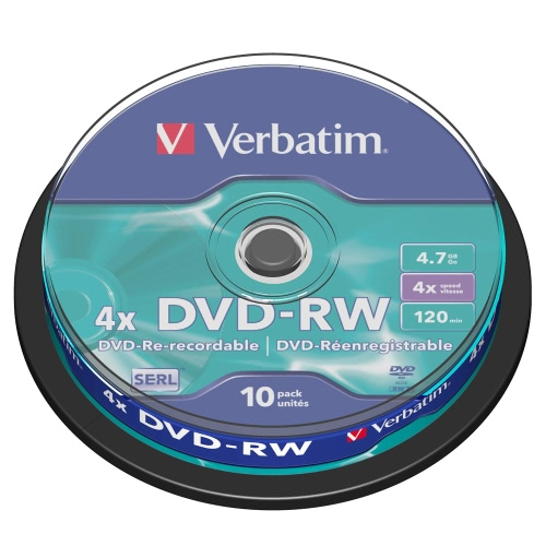 Verbatim DVD-RW 4.7GB 120min 10pk Spindle 4x Branded Rewritable Media Disc Compact Data Storage DVD 43552