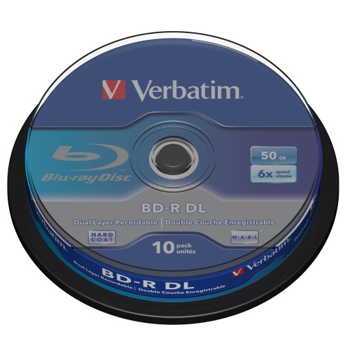 Verbatim DL BD-R 50GB 6X 10PK Spindle Double Dual Layer Blu-ray Recordable Media Disc Branded Compact Write Once Data Storage 43746