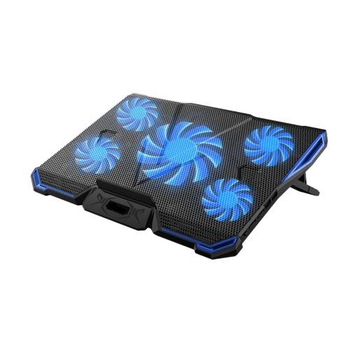 5 wentylatorów przenośnych laptop chłodzących LED Light Dual 2.0 port USB Cooler Fit dla powyżej 17 cali notebook chłodzenia rozpraszania ciepła