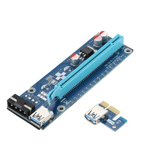 Segotep PCI-E da 1X a 16X Alimentato USB3.0 GPU Extender Riser Scheda adattatore 4Pin w / 60cm USB3.0 e Molex a SATA Cavi di alimentazione per l'estrazione ETH BTC Bitcoin Ethereum Litecoin