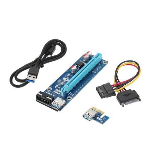 Segotep Karta PCI-E 1X do 16X z zasilaczem USB3.0 Extender Riser Karta 4Pin w / 60cm USB3.0 i Molex do SATA Kable zasilające do górnictwa ETH BTC Bitcoin Ethereum Litecoin