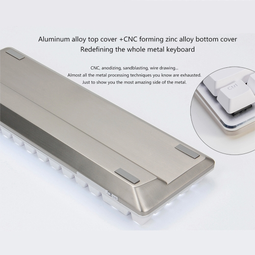 New Ajazz Zinic 68 Keys Mechanical Keyboard All Metal Body Switches Blue Axis Dual-mode BT Version With White Backlight