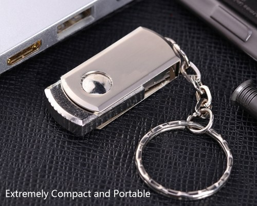 metal rotatable usb flash drive pen drive usb2.0 32g/64g memory stick u disk with flash card keychain
