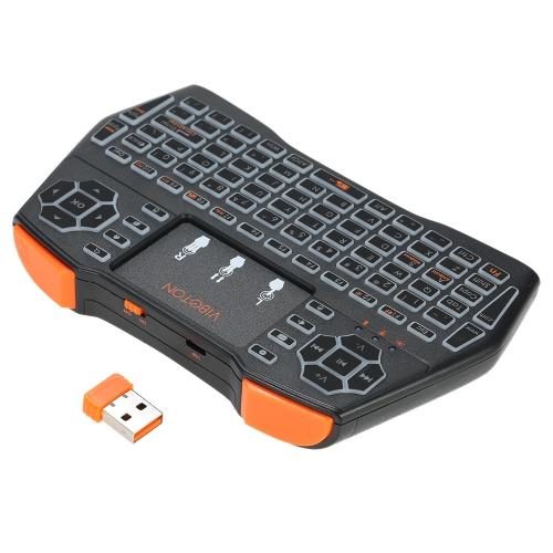 VIBOTON I8plus 2.4G Mini Teclado sem fio Teclado multimídia multimídia com Touchpad Mouse Controle Remoto Seven-color Marquees para Windows PC Android TV Box