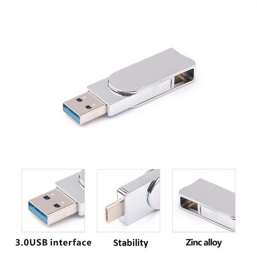 Type C Dual USB 3.0 Flash Drive 32GB Portable U Disk External Storage Memory Stick Data Storage Flash Drive for Computers Phones