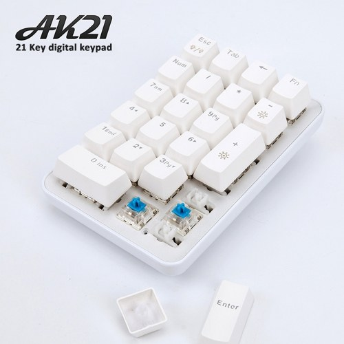 Ajazz AK21 Wired Game Mechanical Single-hand 21-key Green Axis Mini Keyboard Keypad Detachable Keycap Type-C USB Port for Gaming Work Computer Laptop