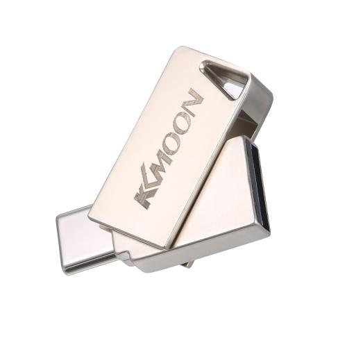 KKmoon USB-Stick USB3.0 Typ-C Mini Portable U Festplatte 32 GB Pendrives Pen Drive Silber für Telefon PC Laptop