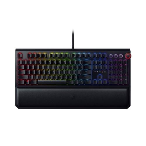 Razer BlackWidow Elite Mechanical Keyboard Gaming 104 Keys RGB Wired Keyboard Instant Trigger Chroma Colorful Light HyperShift Black With Palm Rest Orange Switch
