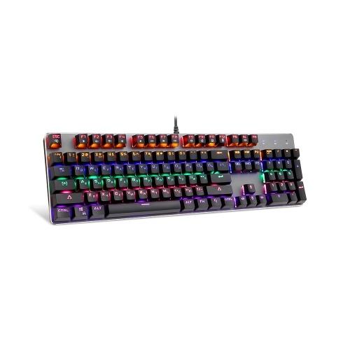 Motospeed K73 Механическая клавиатура со смешанным освещением и настраиваемым световым эффектом RGB 104 клавишная игровая клавиатура Английская и русская клавиатуры с красными переключателями для настольного компьютера или ноутбука фото