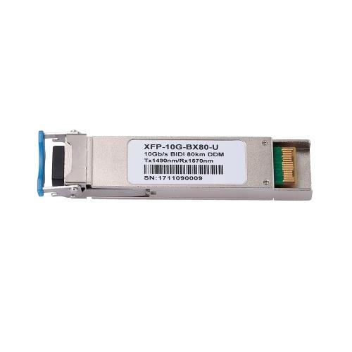 XFP-10G-BX80-U 10 Gbit / s BIDI 80 km DDM TX 1490 nm / RX 1570 nm optisches 10-Gigabit-Singlemode-Glasfaser-Transceiver-Modul