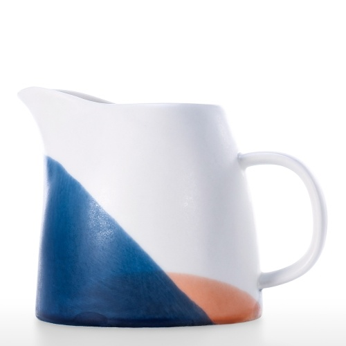 Porcelain Creamer Pitcher with Handle Set of 2 Ceramic Creamer Pitcher Blue Orange White Small Creamer Pitcher