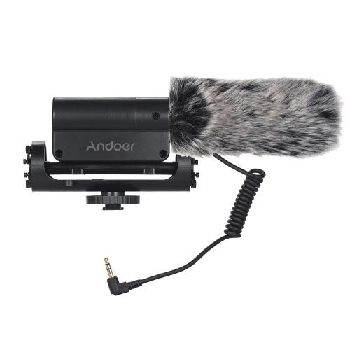Andoer Recording Microphone + Duży rozmiar Furry Wind Muff