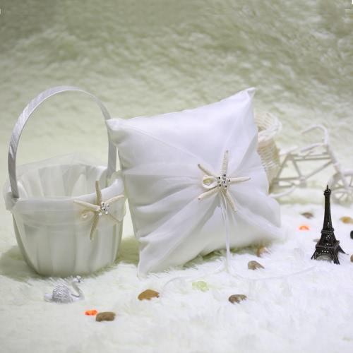 Romantic Soft Satin Sea Star and Sea Shells Wedding Ring Pillow + Wedding Satin Sea Star and Sea Shells Flower Basket