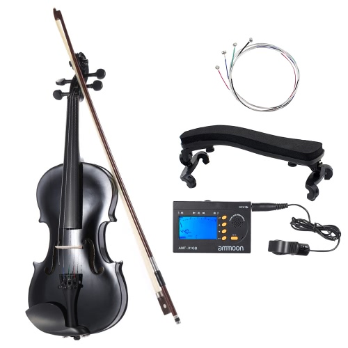ammooon 3/4 Student Violin Metallic Black Equipped with Steel String w/ Arbor Bow for Beginners Music Lovers + ammoon AMT-01GB Multifunctional 3in1 Digital Tuner + Metronome + Tone Generator Universal Portable for Chromatic Guitar Bass Violin + 4pcs A Set of Violin Strings + Violin Shoulder Rest