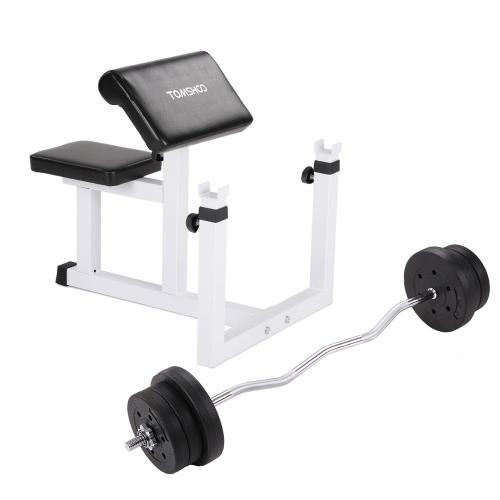 TOMSHOO Ajustable Bíceps Brazo Preacher Curl Bench Barbell Rack + 44LB Ajustable Peso Levantamiento Barbell Set