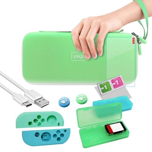 IPEGA PG-SW052 Switch Storage Bag with Card Box/Protective Controller Cover/Joystick Caps for storing Switch Console/Cards/Cable