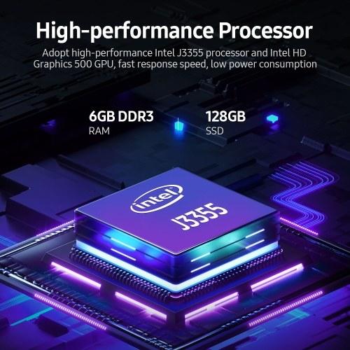 14.1 inch Laptop Intel J3355 Processor 6GB DDR3 128GB SSD 1920*1080 Resolution Portable Business Office Laptop Silver EU Plug