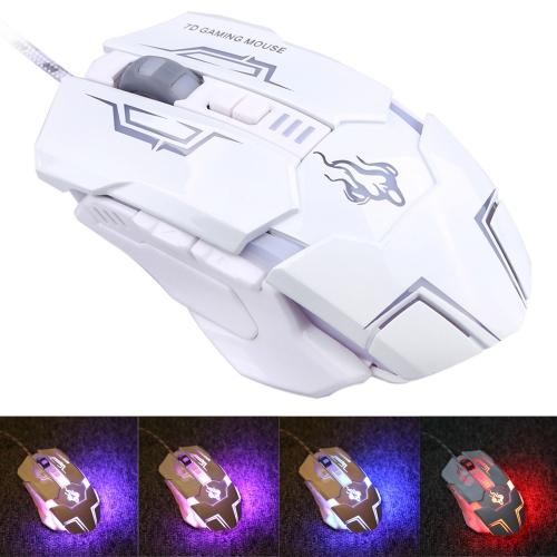 USB com fio profissional Gaming Mouse/rato 5500 DPI ajustável Design ergonômico com botões coloridos iluminados 7