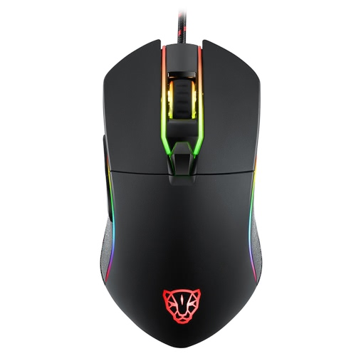 MOTOSPEED V30 Ergonomic Programmable Gaming Mouse 6 Buttons Support Macro Programming Adjustable 3500DPI Optical USB Wired Full Color RGB Breathing LED Backlit Game Mice