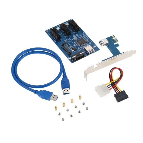 PCI-E 1X Expansion Kit 1 to 3 Ports Switch Multiplier Hub Riser Card with USB 3.0 Cable Pcie Mining Modules (C4423) photo