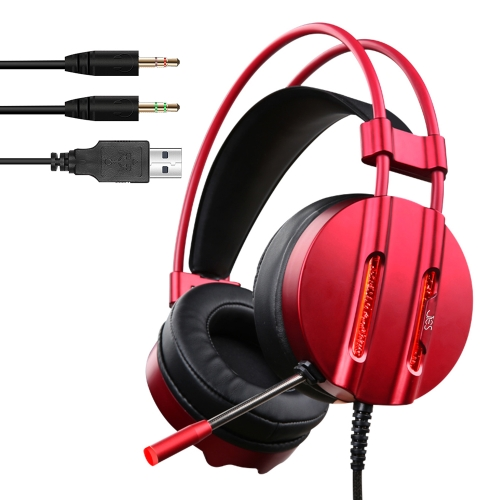 JIES PC Wired Gaming Headset com fone de ouvido com fone de ouvido de 3,5 mm com auscultadores com luz LED Water-cool para Xbox One PS4 Laptop Computer
